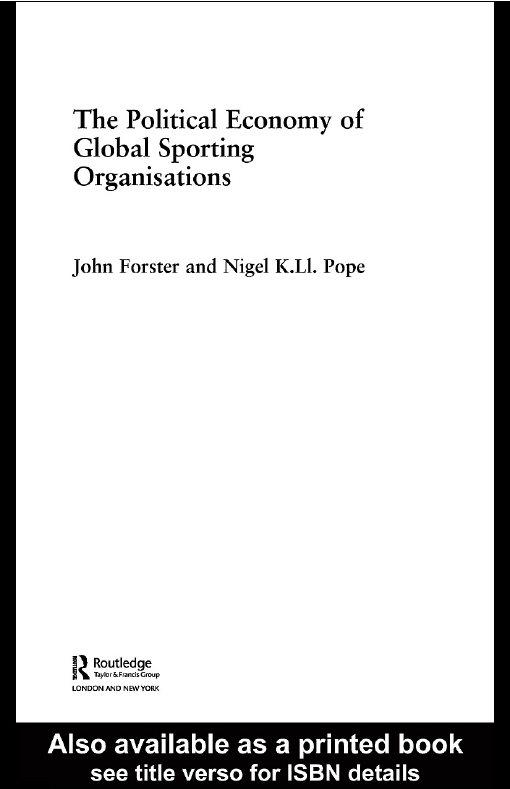 Political Economy of Global Sports Organisations