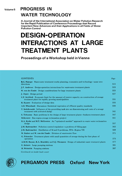 Design—Operation Interactions at Large Treatment Plants