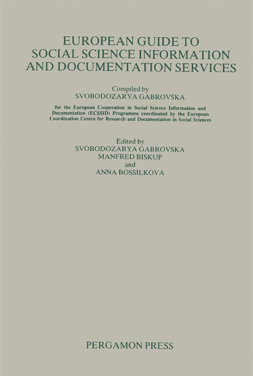 European Guide to Social Science Information and Documentation Services