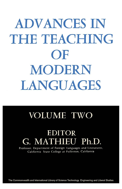 Advances in the Teaching of Modern Languages