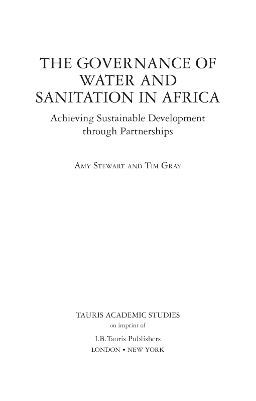 Governance of Water and Sanitation in Africa, The