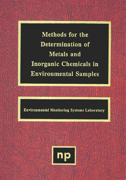 Methods for the Determination of Metals in Environmental Samples