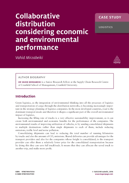 Case Study: Collaborative Distribution Considering Economic and Environmental Performance