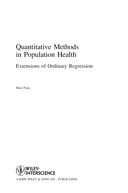 Quantitative Methods in Population Health