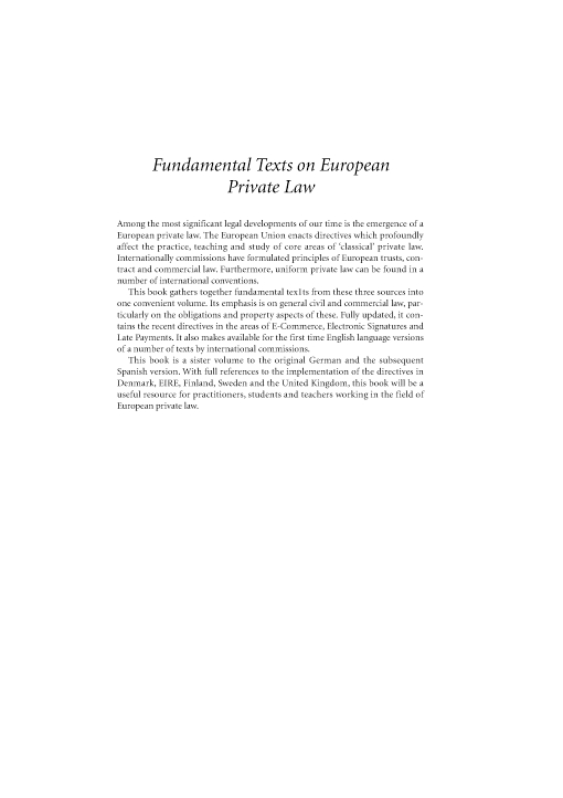 Fundamental Texts on European Private Law