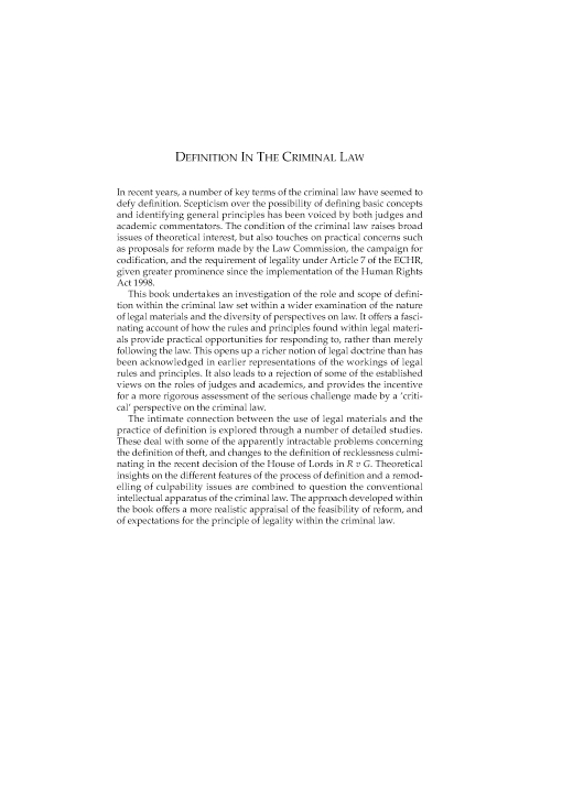 Definition in the Criminal Law