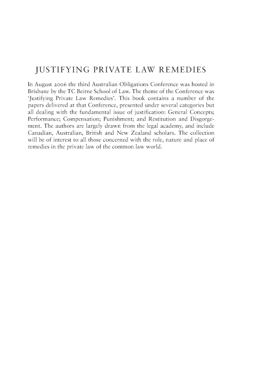 Justifying Private Law Remedies